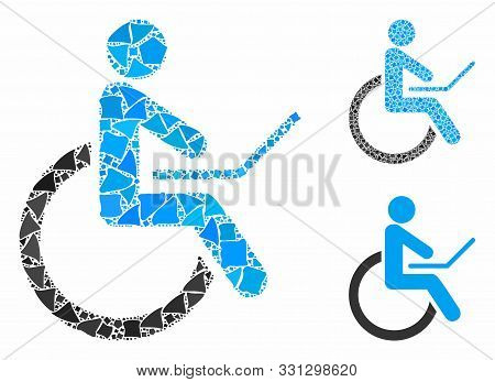 Wheelchair Mosaic Of Inequal Parts In Variable Sizes And Color Tones, Based On Wheelchair Icon. Vect