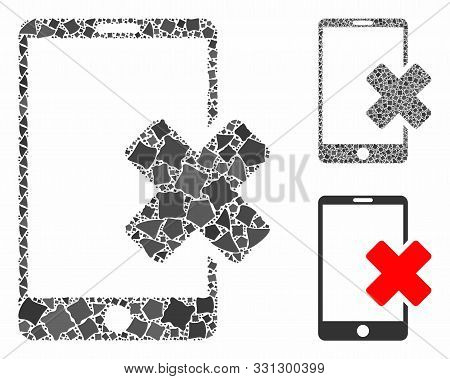 Wrong Smartphone Mosaic Of Unequal Items In Different Sizes And Color Tones, Based On Wrong Smartpho