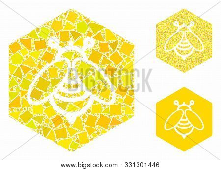 Honey Composition Of Inequal Parts In Various Sizes And Shades, Based On Honey Icon. Vector Inequal