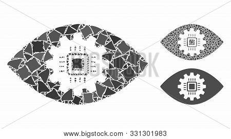 Cyborg Eye Lens Mosaic Of Tremulant Parts In Various Sizes And Shades, Based On Cyborg Eye Lens Icon