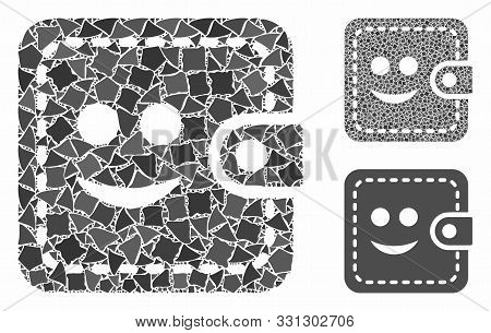 Smiled Wallet Composition Of Unequal Parts In Different Sizes And Color Tones, Based On Smiled Walle