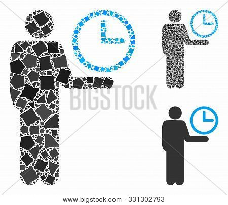 Waiter Mosaic Of Unequal Elements In Variable Sizes And Color Tints, Based On Waiter Icon. Vector Un