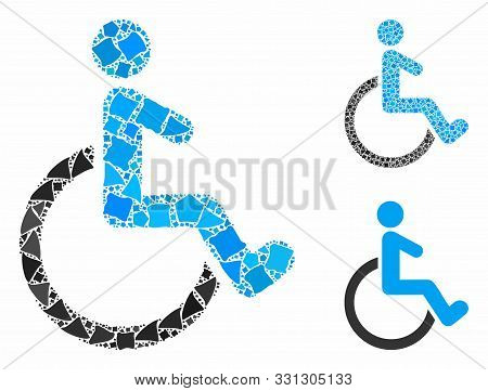 Wheelchair Mosaic Of Rugged Items In Different Sizes And Color Tinges, Based On Wheelchair Icon. Vec