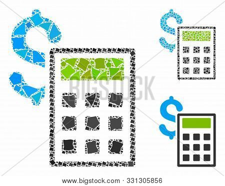 Accounting Mosaic Of Rugged Elements In Variable Sizes And Color Tones, Based On Accounting Icon. Ve