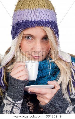 Beautiful Woman Having Cup Of Coffee