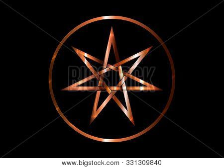 Seven Point Star Or Septagram, Known As Heptagram. Metal Round Bronze Elven Or Fairy Star, Magical O