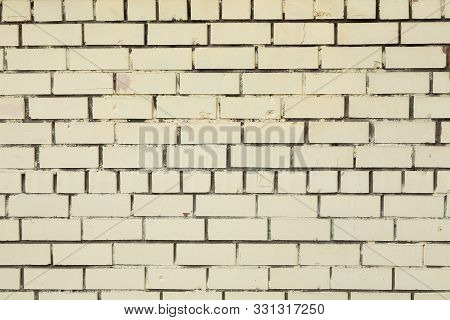 Carelessly Done White Brick Wall With Dark Beton In The Gaps