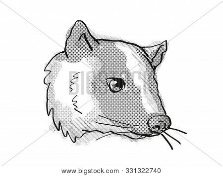poster of Retro cartoon style drawing of head of a Masked Palm Civet or Paguma Larvata, an endangered wildlife species on isolated white background done in black and white.
