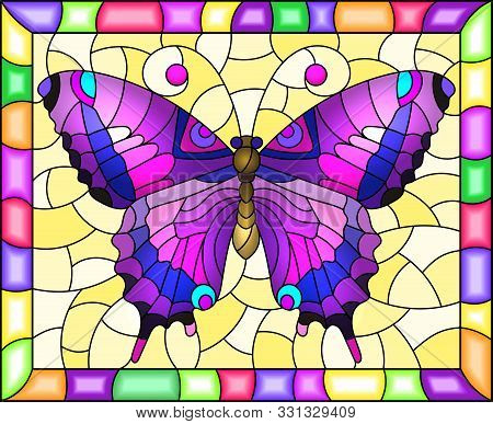 Illustration In Stained Glass Style With Bright Purple Butterfly On A Yellow Background In A Bright