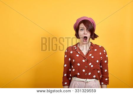 Attractive Young Caucasian Woman Wearing Nice Pink Hat And Red Shirt With White Polka Dot Looking Sc