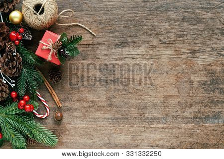 Holiday Christmas Wood Wallpaper. Christmas Card Background With Gift Box And Festive Decoration. Sw