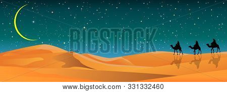 Camel Riders In The Sand Desert. Caravan On The Background Of The Night Starry Sky. Sandy Desert, La