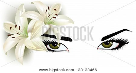 green eyes with lilies