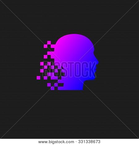 Head With Pixel Logo, Human Digital Brain Icon, Color Vector Mind Sign, Infirmation And Development,