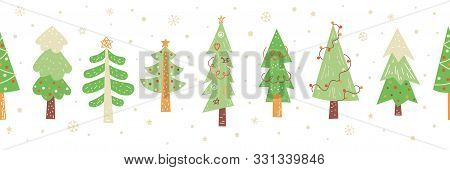Christmas Trees Hand Drawn Seamless Border Vector Pattern. Christmas Sale Seamless Banner. Green Fir