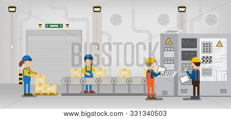 Factory Production Line With Worker Work With Machine And Conveyor Belt Flat Design Vector Illustrat