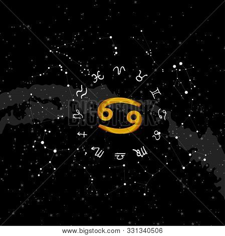constellation cancer of the zodiac. Zodiac signs set of illustrations on the background of a starry sky. constellation was his symbol and the name poster