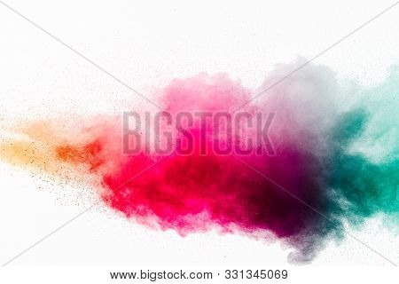 Abstract Multicolored Powder Explosion On White Background.colorful Dust Explode. Painted Holi Powde