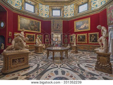 Florence, Italy - August 25: Interior And Arts Of Uffizi Gallery Art Museum Near Piazza Della Signor