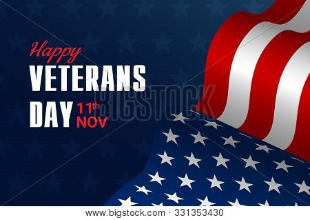 Creative Illustration,poster Or Banner Of Happy Veterans Day With U.s.a Flag And Stars Background