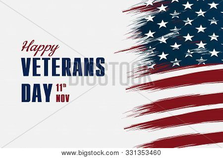 Happy Veterans Day Flag Illustration Design Over American Glag And A White Background