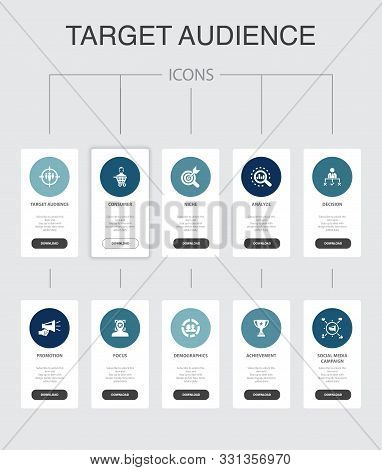 Target Audience Infographic 10 Steps Ui Design.consumer, Demographics, Niche, Promotion Simple Icons