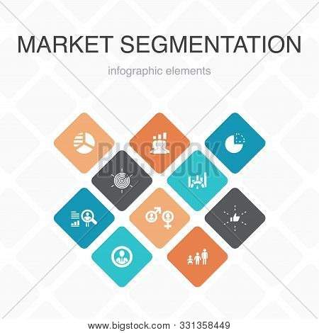 Market Segmentation Infographic 10 Option Color Design.demography, Segment, Benchmarking, Age Group