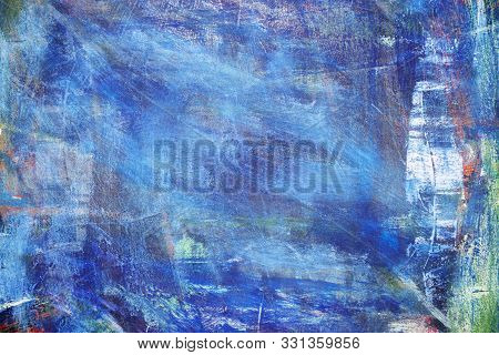 Abstract Colorful Oil Painting On Canvas Texture. Hand Drawn Brush Stroke Oil Color Paintings Backgr