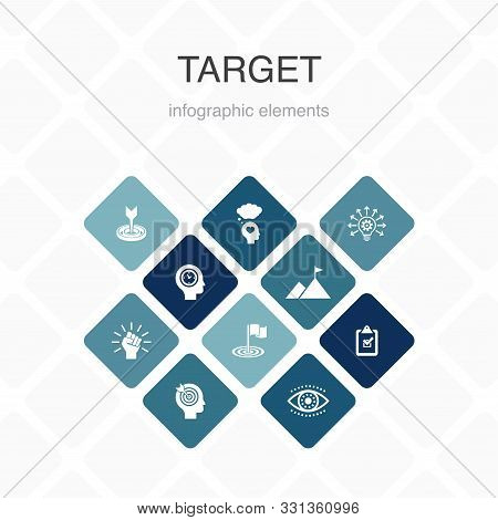 Target Infographic 10 Option Color Design. Big Idea, Task, Goal, Patience Simple Icons