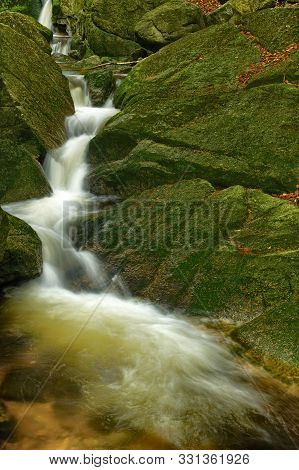Nisy Falls In Super Green Forest Surroundings, Czech Republic