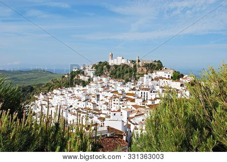 Casares, Spain - May 3, 2008 - Elevated View Of A Traditional White Village, Casares, Malaga Provinc