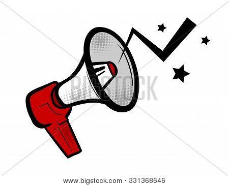 Megaphone Vote Comic Text Speech Bubble Pop Art. Cartoon Halftone Megaphone Vector Background. Retro