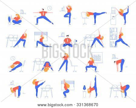 Office Yoga Exercises. Fitness And Yoga Workout For Office Workers, Relaxing And Stretching In Offic