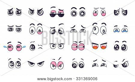 Cartoon Eyes. Comic Funny Expression Eyes With Various Emotions, Crying Eyes, Laughing, Angry And Cu