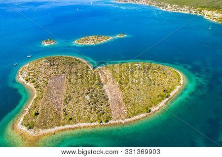 Croatia, Adriatic Sea, Aerial Drone View Of The Amazing Heart Shaped Island Of Galesnjak, Beautiful