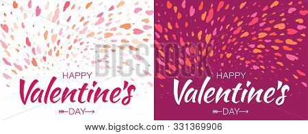 Valentines Day Card Design Set. Heart Confetti Background. Valentine Petals Falling On White Backgro