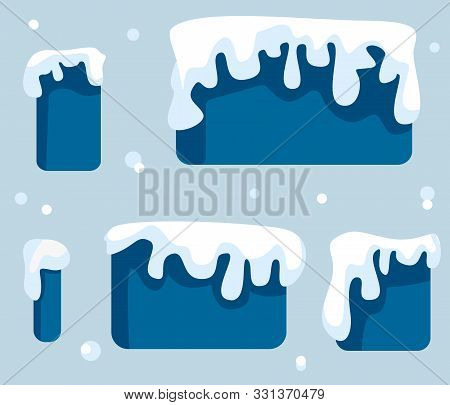 Snow Ice Icicle Set Winter Design. White Blue Snow Template. Snow Caps, Snowballs And Snowdrifts Set