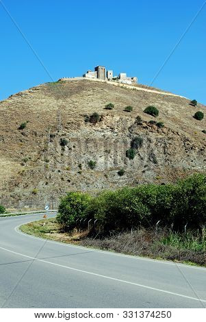 View Of The Moorish Castle On Top Of The Hill, Alora, Malaga Province, Andalucia, Spain, Western Eur
