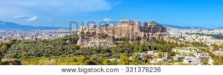Panorama Of Athens With Acropolis Hill, Greece. Famous Old Acropolis Is A Top Landmark Of Athens. La