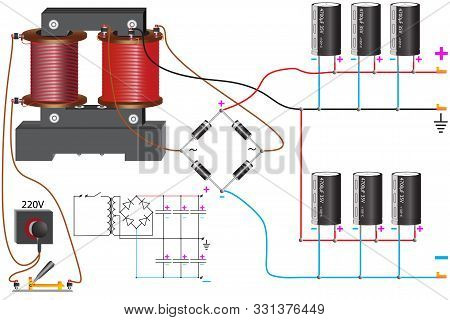 Bipolar Power Supply Unit Which Uses A Step-down Transformer Voltage, Diode Bridge, Capacitors Of Co