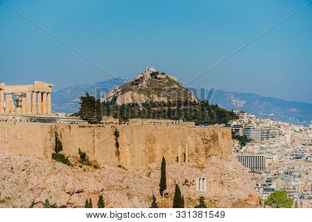 View Of Mount Lycabettus In Athens, Greece.
