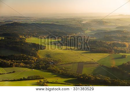 Aerial Photograph Of Sunset Over Czech Highlands With Farmlands And Forests