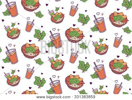 Love To Veggies! Seamless Pattern With Healthy Bowl And Green Smoothie And Orange Juice. Hand-drawn