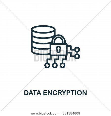 Data Encryption Icon Outline Style. Thin Line Creative Data Encryption Icon For Logo, Graphic Design