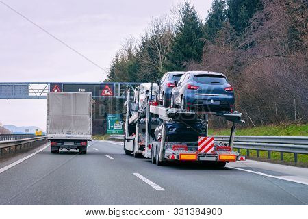 Car Carrier Transporter Truck In Road Auto Vehicles