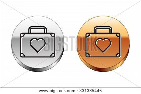 Black Line Suitcase For Travel With Heart Icon Isolated On White Background. Honeymoon Symbol. Trave