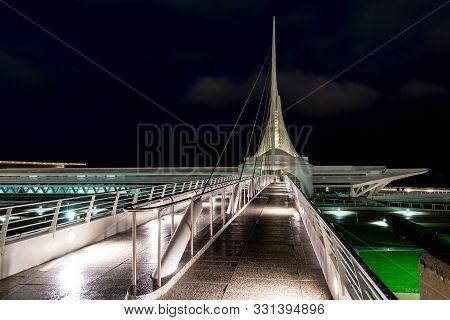 Milwaukee, Wi - September 22, 2019: Reiman Bridge, A Cable Stay Pedestrian Bridge Spanning Lincoln M