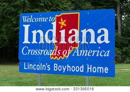 Indiana, Usa - September 22, 2019: Welcome To Indiana Sign At The Indiana State Border