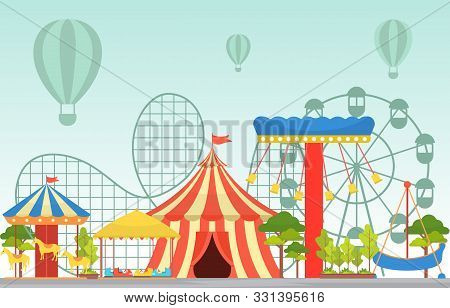 Amusement Park Circus Carnival Festival Fun Fair With Firework Landscape Illustration