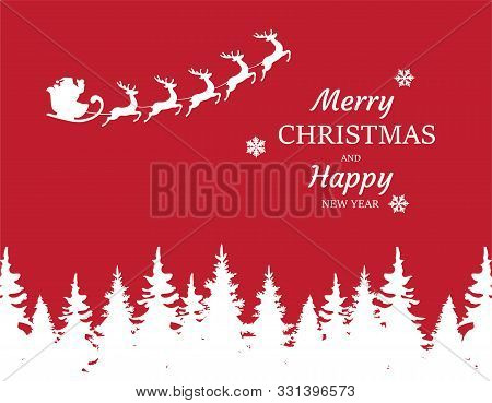 Vector Illustration Of A Christmas Card With Santa Claus Flying And Forest Silhouette.
